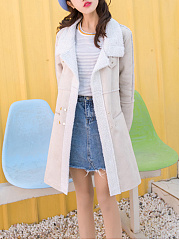 Fold-Over Collar  Zips  Decorative Hardware  Plain  Long Sleeve Coats
