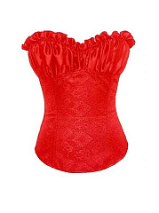 Sexy Frill Shirred Embroidered Corset Side Satin Overbust Corselet For Women