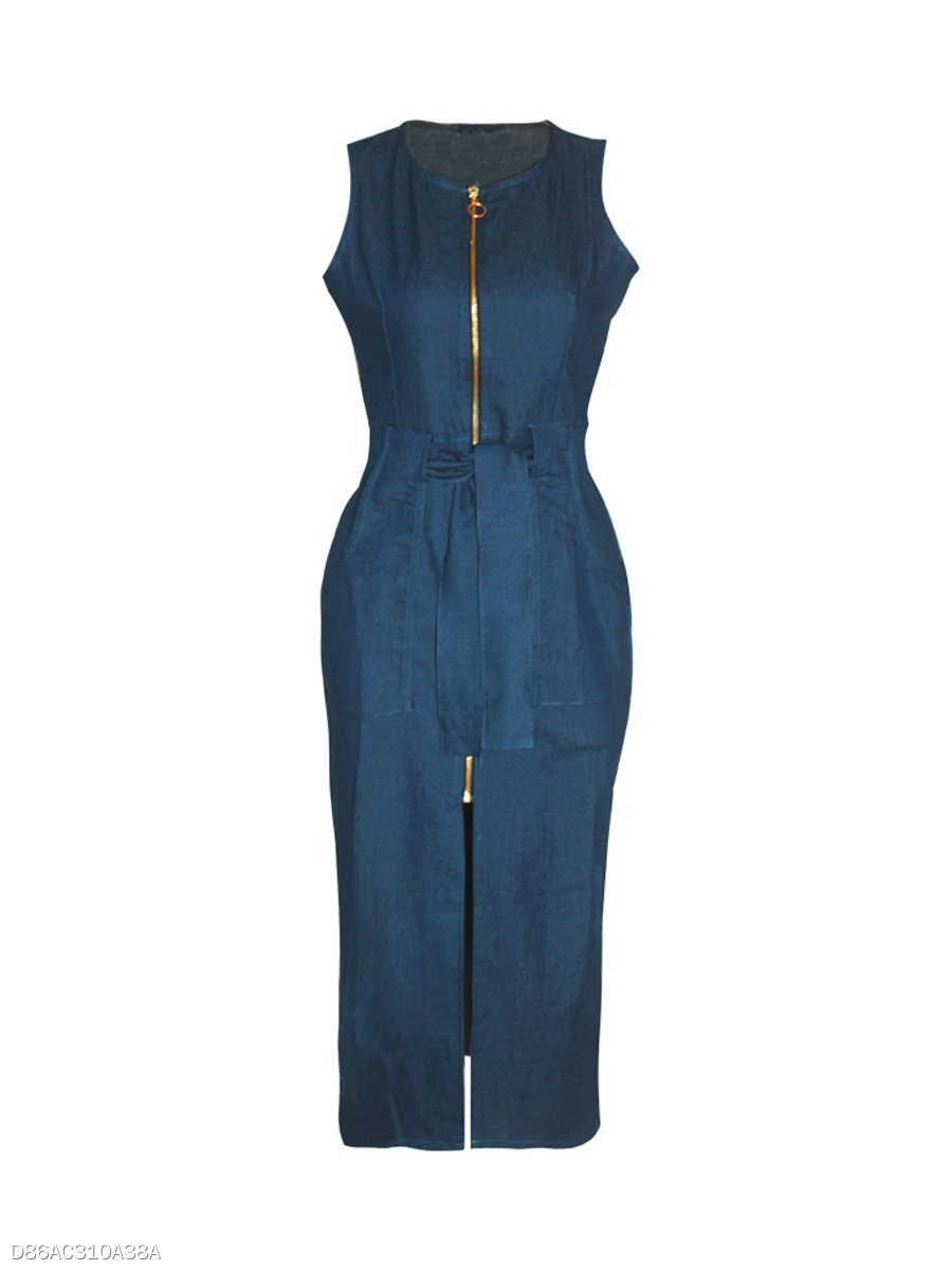 Crew Neck Patchwork Slit Zips Denim Bodycon Dress