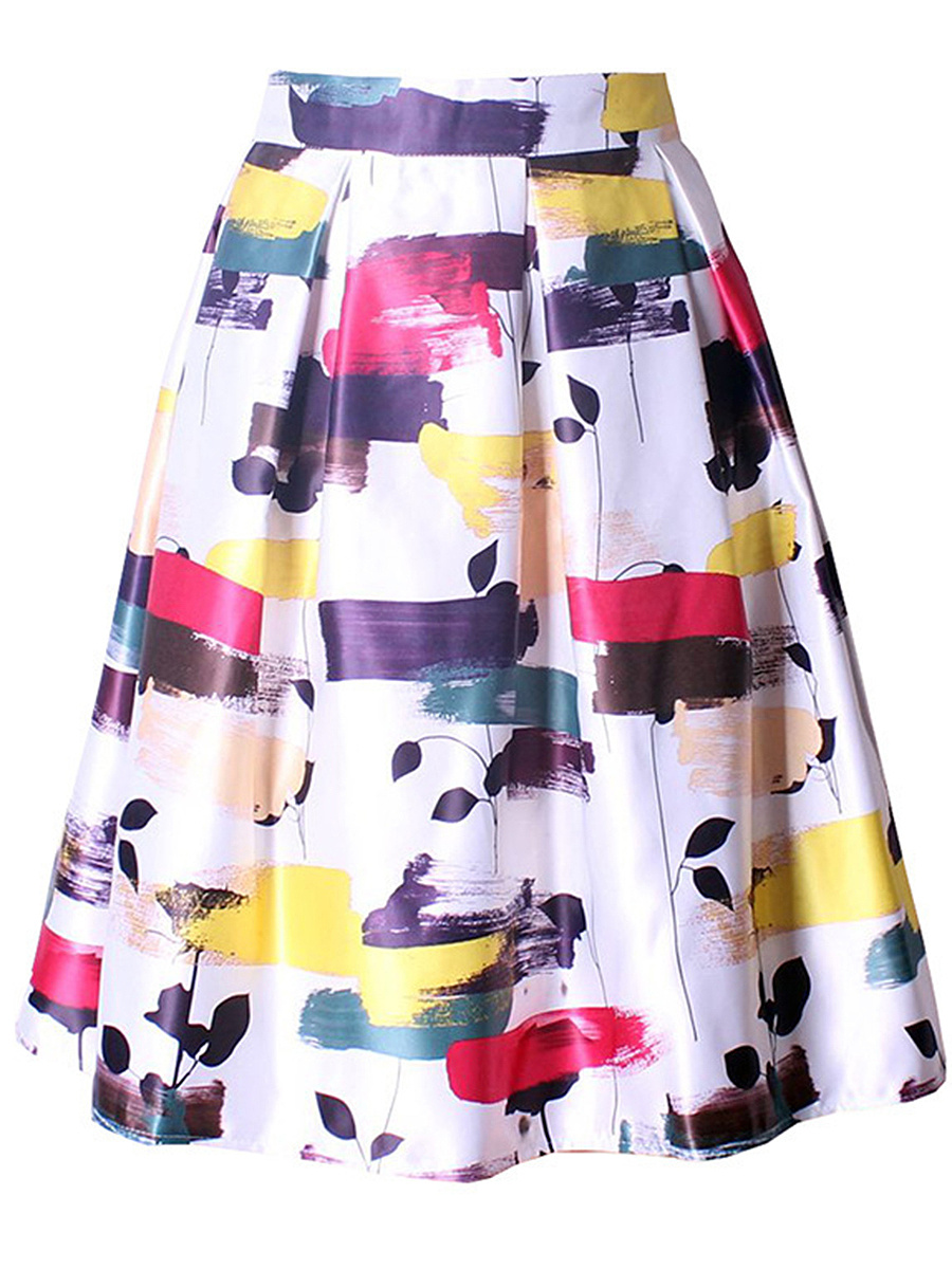Abstract Print Inverted Pleat Flared Midi Skirt