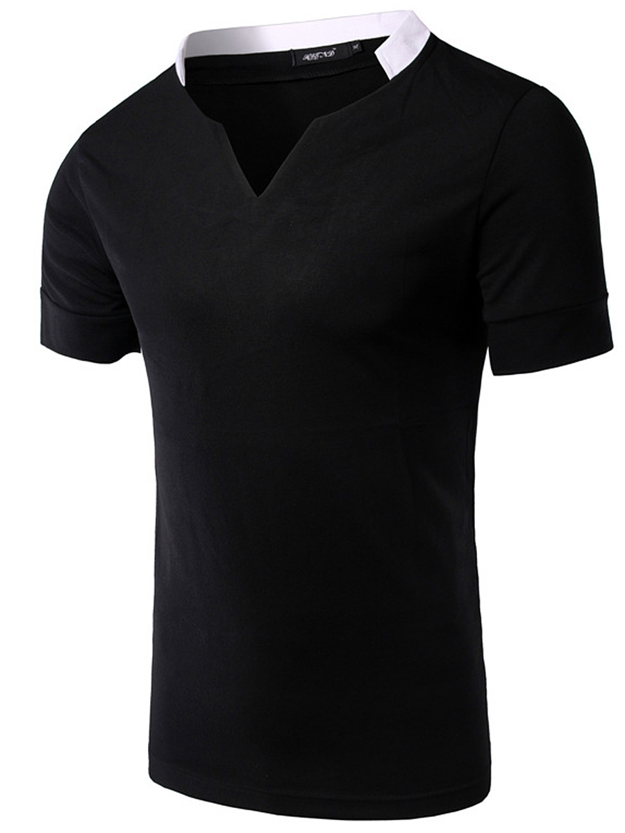 Split Neck Contrast Trim Men T-Shirt