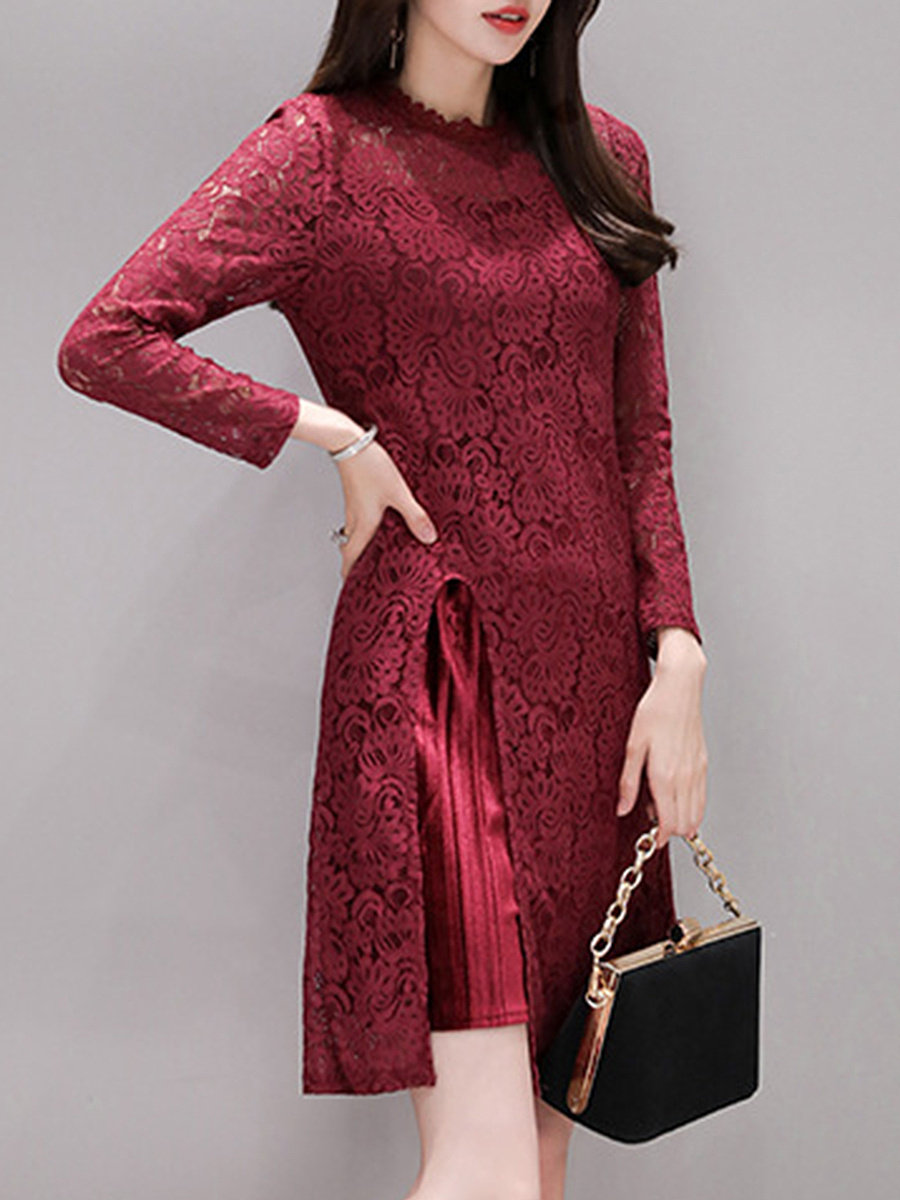 Round Neck Patchwork Hollow Out Lace Bodycon Dress