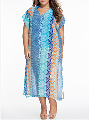Loose V-Neck  Printed Plus Size Maxi Dress