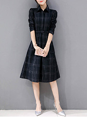 Plaid Belt Turn Down Collar Maxi Dress