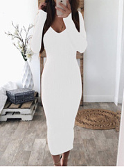 V-Neck  Backless  Plain Bodycon Dress