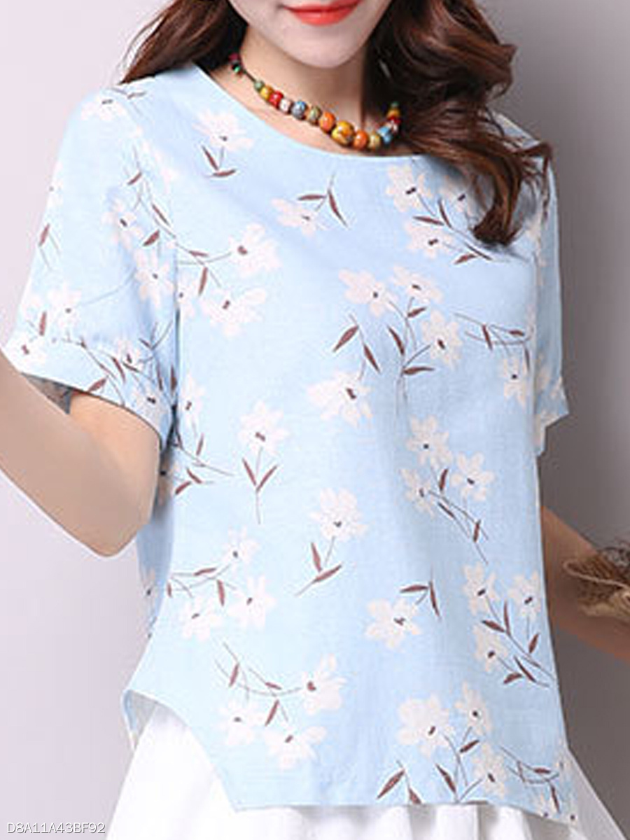 Spring Summer  Cotton  Women  Round Neck  Asymmetric Hem  Floral Printed Short Sleeve T-Shirts