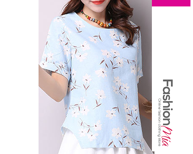 gender:women, hooded:no, thickness:regular, brand_name:fashionmia, style:elegant,fashion, material:cotton, collar&neckline:round neck, embellishment:asymmetric hem, pattern_type:floral,printed, how_to_wash:cold  hand wash, occasion:basic,daily, season:spring,summer, package_included:top*1, lengthshouldersleeve lengthbust