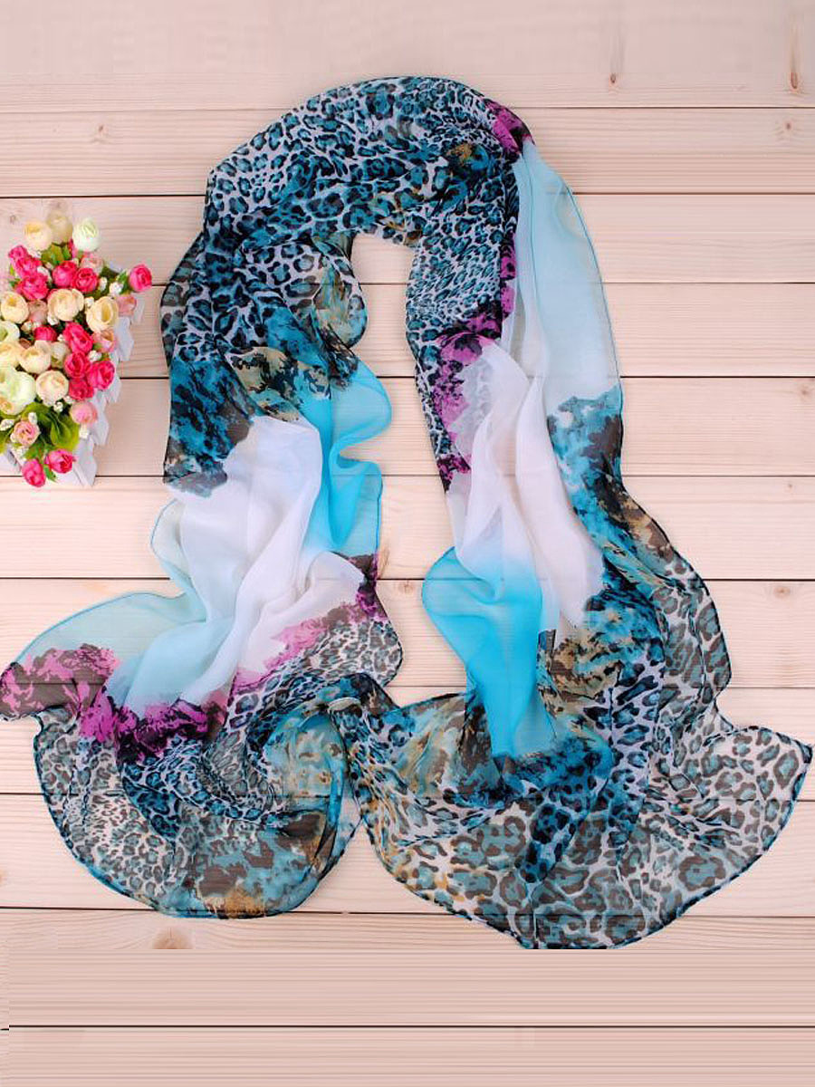 Colorful Leopard  Printed Chiffon Scarf