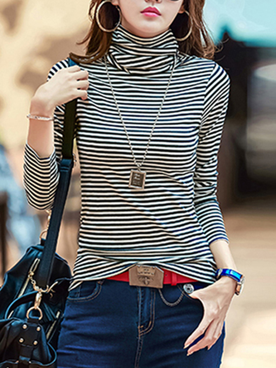 Turtleneck  Striped Long Sleeve T-Shirt