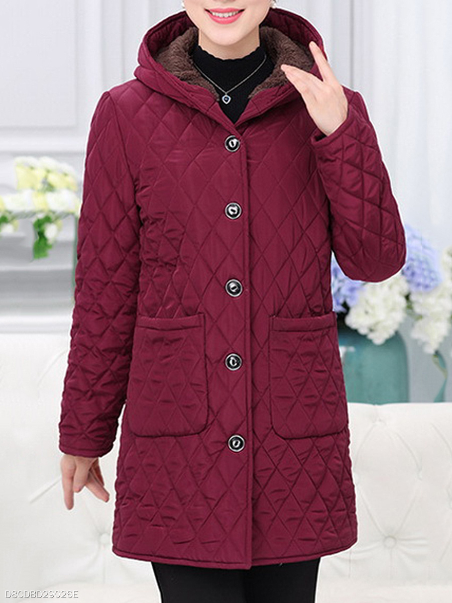 Hooded Patch Pocket Quilted Fleece Lined Plain Coat