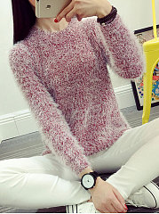 Round Neck Plain Loose Sweater