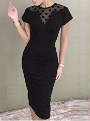Round Neck  Hollow Out Plain Polka Dot Bodycon Dress