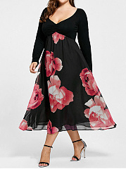 Deep V-Neck  Printed Plus Size Midi  Maxi Dresses