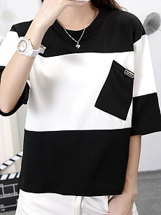 Round Neck  Patch Pocket  Stripes Short Sleeve T-Shirts