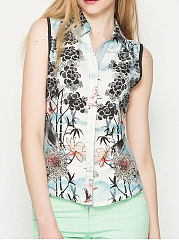 Spring Summer  Polyester  Women  Turn Down Collar  Abstract Print Floral Printed  Sleeveless Blouses