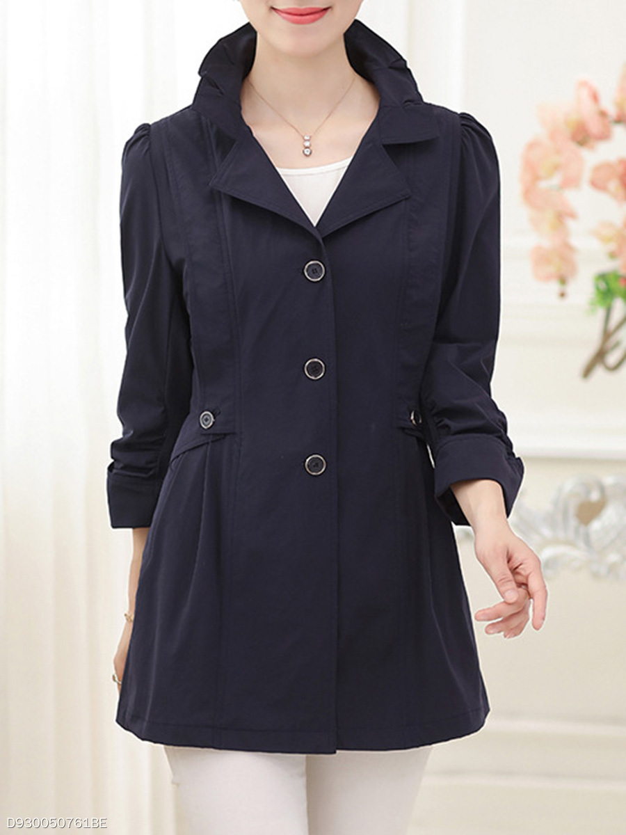 Lapel  Single Breasted Slit Pocket  Plain  Three-Quarter Sleeve Trench Coats