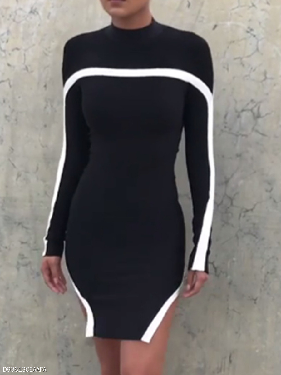 Crew Neck  Cutout High Slit  Contrast Stitching  Colouring Bodycon Dress