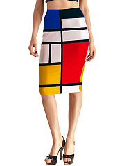 Modern Color Block Pencil Midi Skirt