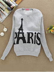 Round Neck  Letters  Long Sleeve Sweatshirts