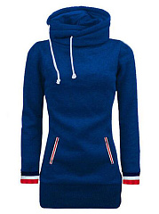 Contrast Striped Trim Pocket Hoodie