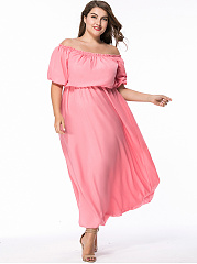 Square Neck Plain Chiffon Plus Size Maxi Dress