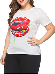 Round Neck  Graffiti  Short Sleeve Plus Size Tops