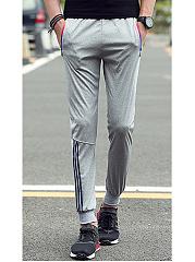 Zips-Pocket-Striped-Elastic-Waist-Mens-Casual-Jogger-Pants