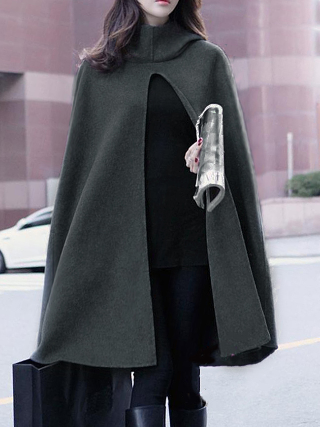Image of Fashionmia Hooded Vented Plain Cape Sleeve Coats