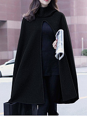 Hooded  Vented  Plain  Cape Sleeve Coats