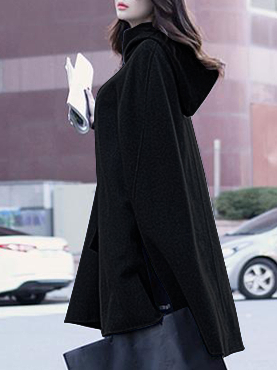 Hooded Plain Vented Woolen Cape Sleeve Coat