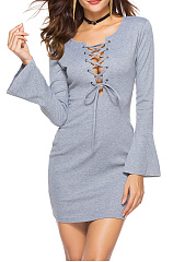 Sexy Lace-Up Bell Sleeve Plain Bodycon Dress