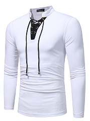 Contrast Trim Lace-Up V-Neck Men T-Shirt