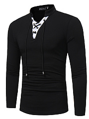 V-Neck  Contrast Trim Lace-Up  Long Sleeve Long Sleeves T-Shirts