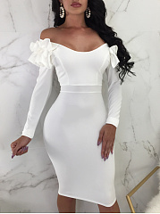 Off Shoulder  Zips  Cascading Ruffles  Plain Bodycon Dress