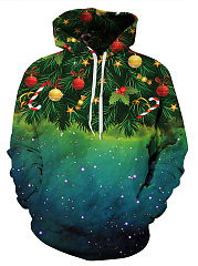 Christmas Tree Printed Kangaroo Pocket Men Hoodie