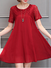Round Neck  Patchwork  Plain Shift Dress