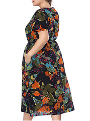 Round Neck  Belt Loops  Printed Plus Size Midi & Maxi Dress