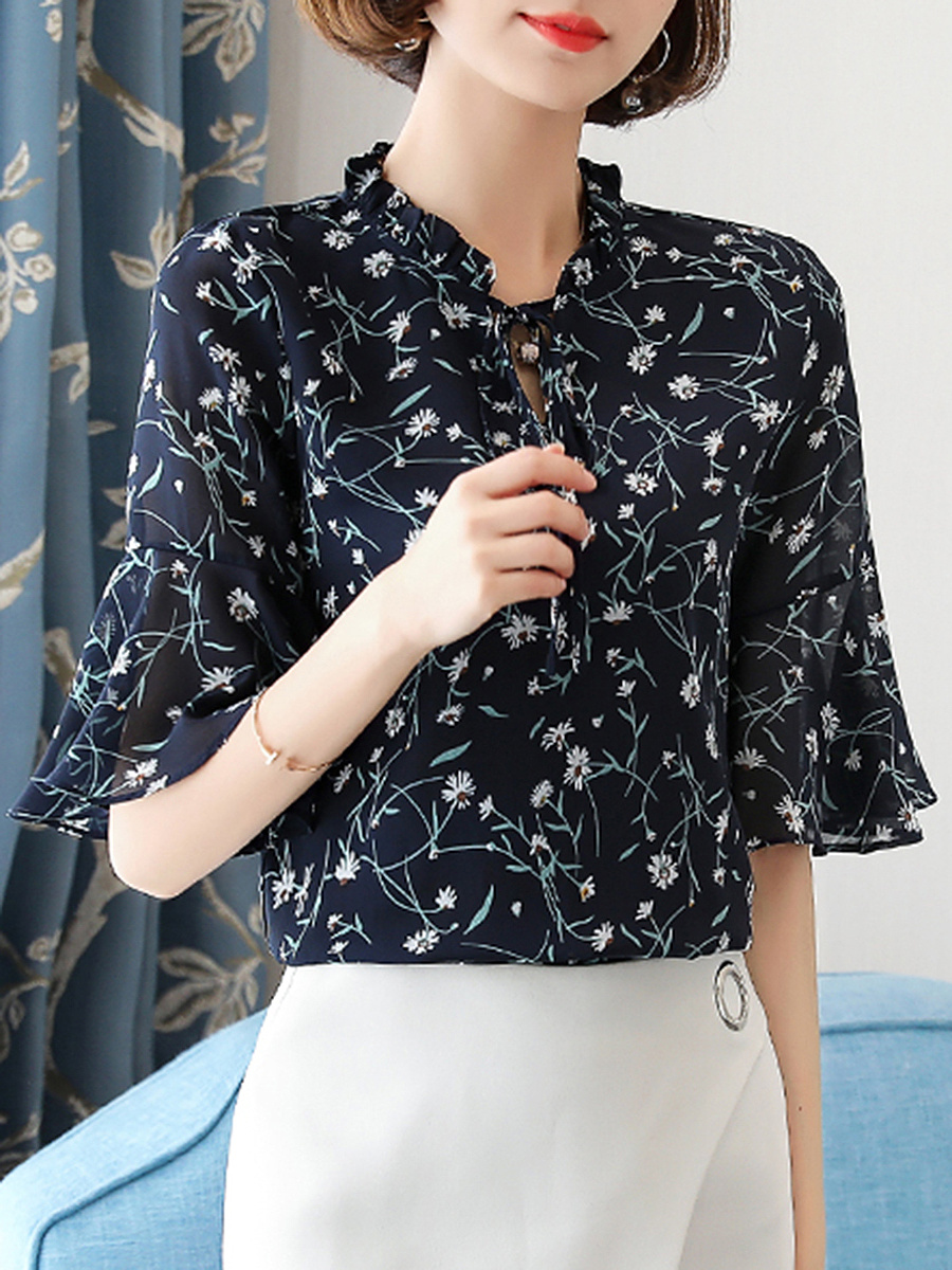Tie Collar  Ruffle Trim  Printed  Bell Sleeve Blouse