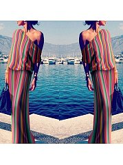 One Shoulder Colorful Plain Maxi Dresses