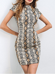 Crew Neck  Brocade Bodycon Dress
