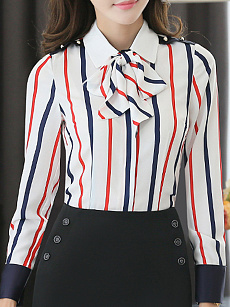 Autumn Spring  Women  Tie Collar  Striped  Long Sleeve Blouses