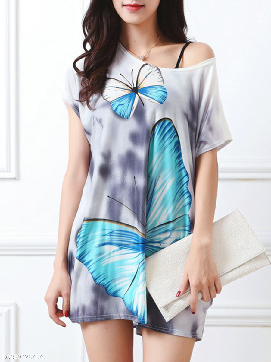 Butterfly Printed Round Neck Mini Shift Dress