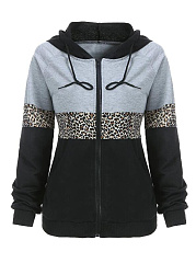 Zips  Animal Printed  Raglan Sleeve  Long Sleeve Hoodies