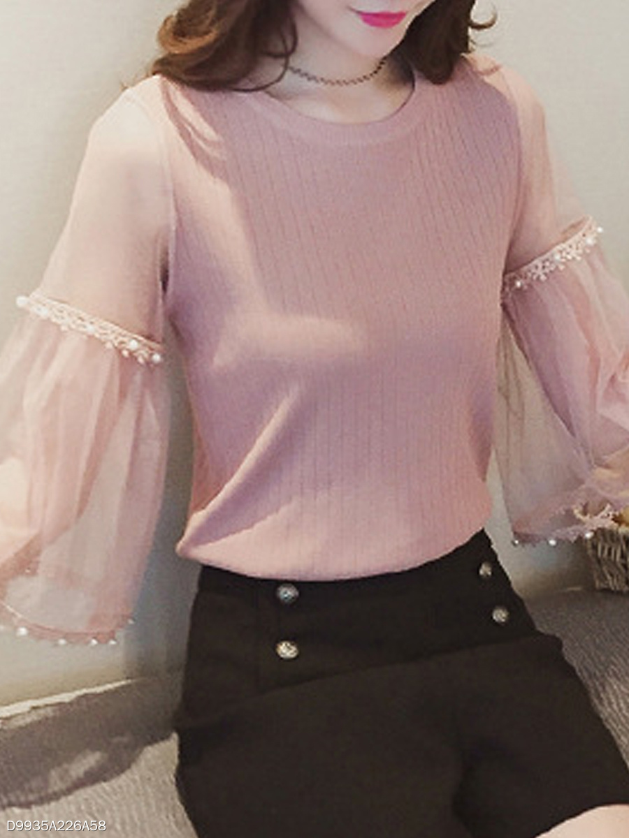 Round Neck  Beading Patchwork See-Through  Plain  Three-Quarter Sleeve Sweaters Pullover