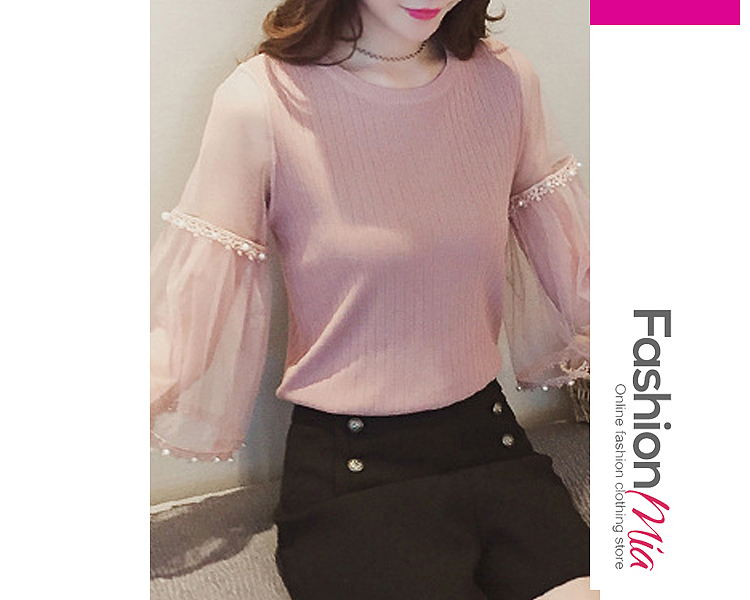 gender:women, hooded:no, thickness:regular, brand_name:fashionmia, style:elegant,fashion, material:knit,mesh, collar&neckline:round neck, sleeve:three-quarter sleeve, embellishment:beading,patchwork,see-through, pattern_type:plain, how_to_wash:cold  hand wash, occasion:basic,daily,date, season:autumn,spring, package_included:top*1, lengthshoulderbust