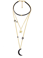 Stars And Moon Choker Layers Necklace