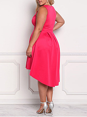 Deep V-Neck  High-Low Plus Size Flared Dress