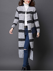 Collarless  Striped  Long Sleeve Cardigans