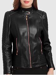 Plain-PU-Leather-Band-Collar-Zips-Pocket-Biker-Jacket