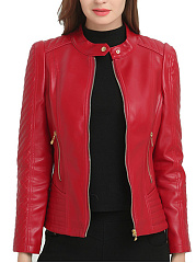 Plain PU Leather Band Collar Zips Pocket Biker Jacket
